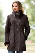 Women's Alma Shearling Sheepskin Coat with Mink Fur Collar