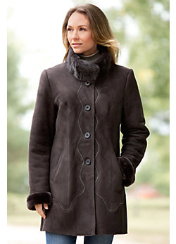 Alma Shearling Sheepskin Coat with Mink Fur Collar