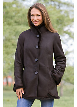 Jillian Shearling Sheepskin Coat with Mink Trim