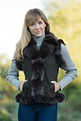 Women's Cressida Shearling Vest with Fox Fur Trim