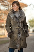 Women's Suellen Shearling Sheepskin Coat with Raccoon Fur Trim
