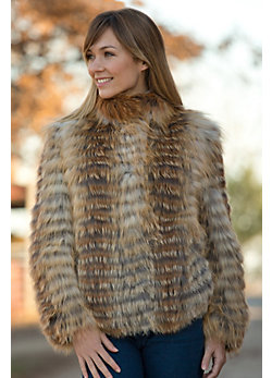 Women's Joline Knitted Red Fox Fur Reversible Jacket
