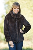 Women's Ilyana Knitted Mink Fur Jacket