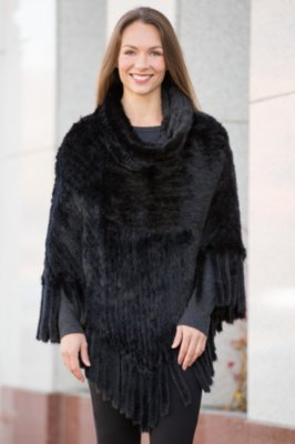 Abra Knitted Mink Fur Poncho