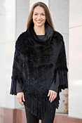 Women's Abra Knitted Mink Fur Poncho