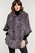 Women's Bettina Herringbone Knit Mink Fur Zip Poncho