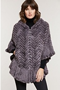 Women's Bettina Herringbone Knitted Mink Fur Zip Poncho