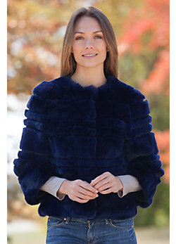 Women's Sally Rex Rabbit Fur Bolero Jacket