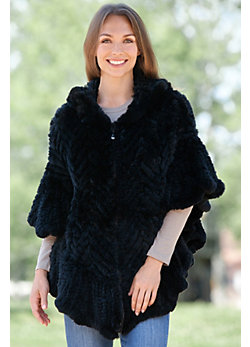 Women's Missy Herringbone Knit Rex Rabbit Fur Poncho