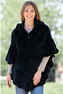 Women's Missy Knitted Rex Rabbit Fur Poncho