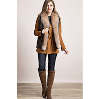 Women's Raquel Longhaired Beaver Fur Vest With Fox Fur Trim, Hazel / Crystal, Size Small (4 / 6) Western & Country