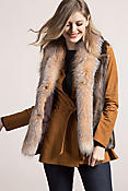 Women's Raquel Longhaired Beaver Fur Vest with Fox Fur Trim