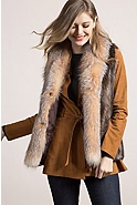 Women's Raquel Long-Haired Beaver Fur Vest with Fox Fur Trim