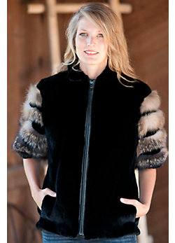 Women's Samantha Sheared Beaver Fur Vest with Fox Fur Trim