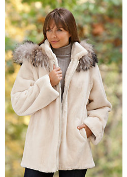 Women's Sonora Sheared Beaver Fur Coat with Raccoon Fur Trim