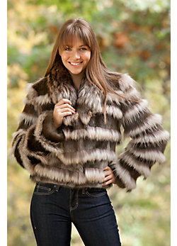 Women's Allegra Longhaired Beaver Fur Jacket with Raccoon Fur Trim
