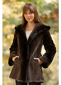 Women's Tatiana Sheared Beaver Fur Coat with Mink Fur Trim