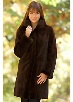 Women's Danica Reversible Sheared Mink Fur Coat