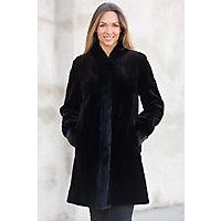 Women's Paloma Reversible Sheared Mink Fur Coat, Black, Size 16 Western & Country