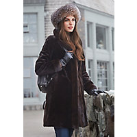Women's Paloma Reversible Sheared Mink Fur Coat, Brown, Size 18 Western & Country