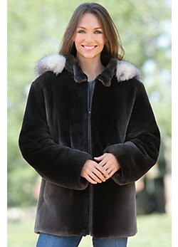Starling Beaver Fur Coat with Fox Fur Trim