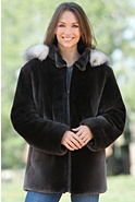Women's Starling Sheared Beaver Fur Parka with Fox Fur Trim