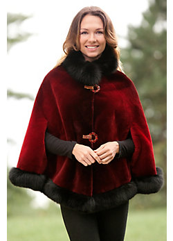 Celia Beaver Fur Cape with Fox Fur Trim