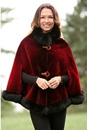 Women's Celia Sheared Beaver Fur Cape with Fox Fur Trim