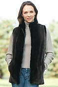 Women's Sophia Sheared Beaver Fur Vest with Mink Fur Trim
