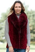 Women's Vixen Sheared Beaver Fur Vest with Fox Fur Collar