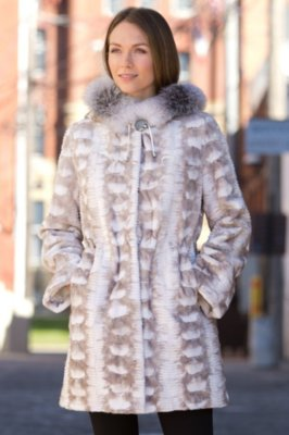 Sheridan Danish Mink Fur Coat with Fox Fur Hood