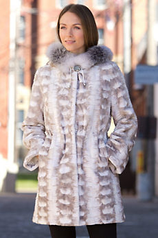 Sheridan Danish Mink Fur Coat with Fox Fur Hood