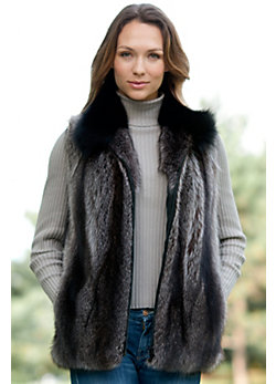 Women's Juno Raccoon Fur Vest with Fox Fur Collar