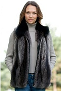 Women's Juno Raccoon Fur Vest with Fox Fur Collar