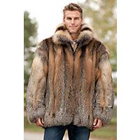 Men's Embassy Cross Fox Fur Coat, Natural, Size 42 Western & Country