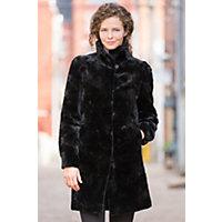 Women's Bridget Reversible Danish Mink Fur Coat, Black / Black, Size 18 Western & Country