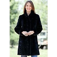 Women's Selena Reversible Short Mink Fur Coat, Black, Size 18 Western & Country