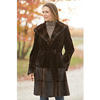 Women's Mackenzie Hooded Danish Mink Fur Coat, Bleached Brown, Size 6 Western & Country