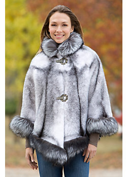 Women's Chanice Mink Fur Cape with Silver Fox Fur Trim