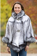 Women's Chanice Mink Fur Cape with Silver Fox Fur Trim
