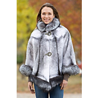 Women's Chanice Mink Fur Cape With Silver Fox Fur Trim Western & Country