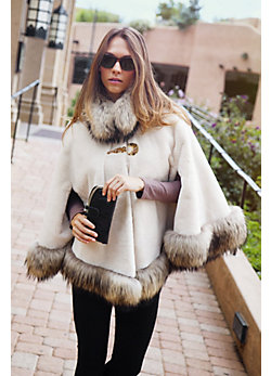 Women's Lillian Sheared Beaver Fur Cape with Raccoon Fur