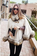 Women's Lillian Sheared Beaver Fur Cape with Raccoon Fur Trim