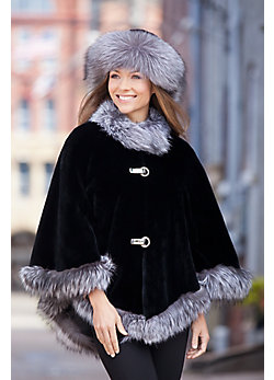 Anita Beaver Fur Cape with Fox Fur Trim