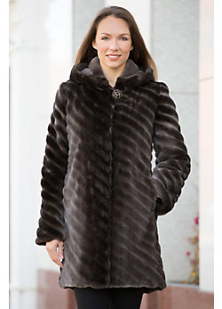 Women's Verity Hooded Sheared Beaver Fur Coat