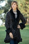 Women's Paris Sweater Jacket with Raccoon Fur Trim