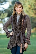 Women's Natalia Sweater Jacket with Raccoon Fur Trim