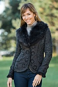 Women's Darlene Sweater Jacket with Raccoon Fur Trim