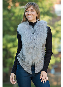 Women's Laisha Wool-Blend Vest with Mongolian Sheep Fur Trim