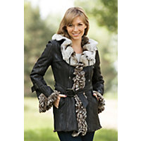 Women's Deanna Double-Faced Rabbit Fur Jacket, Brown / Natural, Size Medium (8) Western & Country